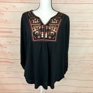 Absolutely Famous Black Embroidered Tunic Top